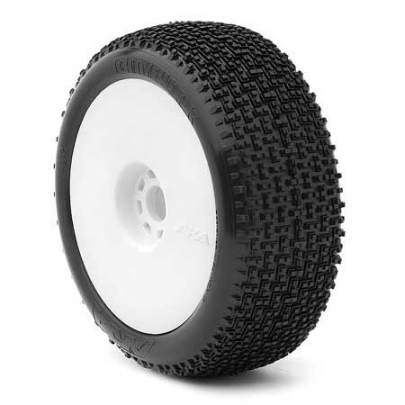 1/8 Buggy CITYBLOCK Soft EVO PreMnt Tire White Wheel(2)