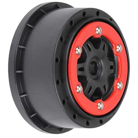 Front SplitSix 2.2/3.0 Red/Blk Bead-Loc Wheels SC10
