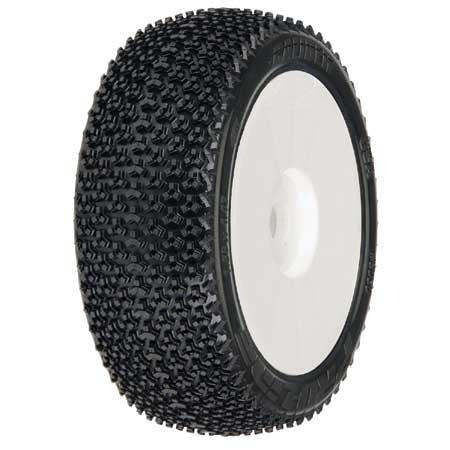 1/8 Caliber M3 Buggy Tires Mnt V2 Whls, White (2)