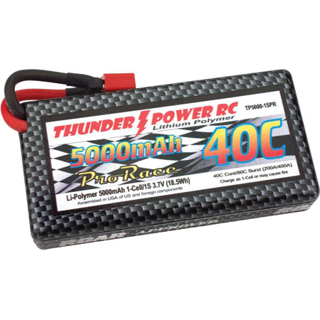 Thunder Power 5000mAh 1S 3.7V Pro Race 40C LiPo w/Case Deans