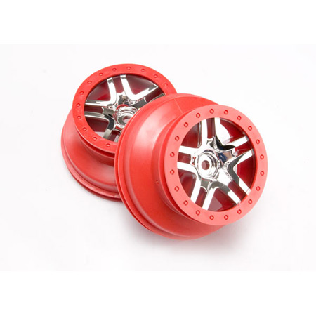 SCT SplitSpokeRed ChromeWheel(2):Rear2WDSLH,SLH4x4