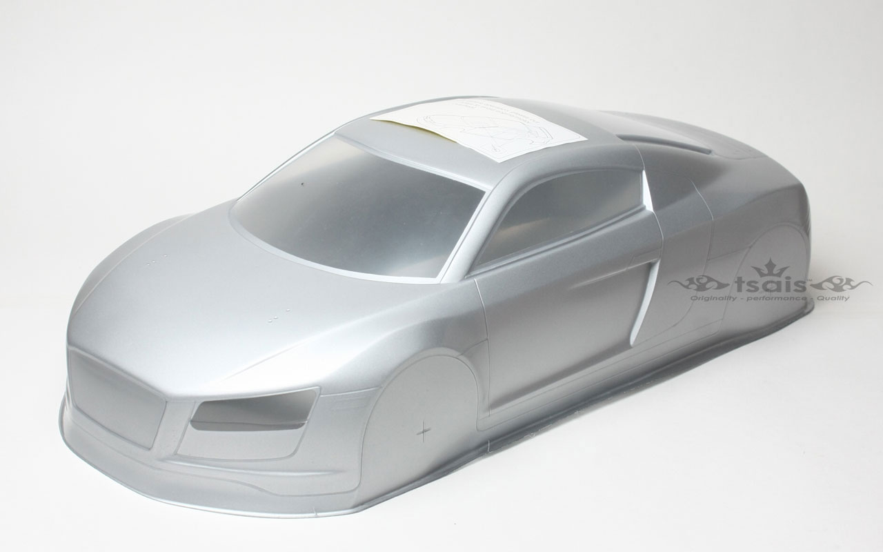 Tsais Audi R8 Body, Clear, 200mm (Decal & Window Mask Included)