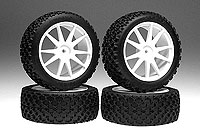 X-Pattern Tire With Wheel(White/Mini Inferno) 4pcs