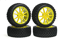 X-Pattern Tire With Wheel(Yellow/Mini Inferno) 4pcs